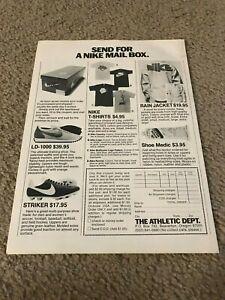 1977 NIKE LD-1000 Running Shoes Box Catalog Print Ad NIKE STRIKER T-SHIRT 1970s