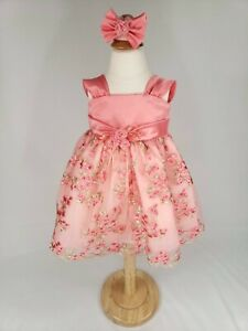 Gorgeous Embroidered Dress with Headband 6M