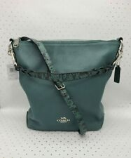 Coach ☆ LEATHER SNAKE TRIM ABBY SHOULDER BAG ~ Dark Turquoise CROSSBODY $428 NWT