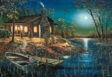 "Jim Hansel After Dark Cabin Boat Art print  16"" x 12"""