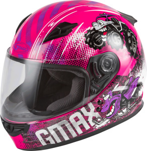 GMAX Youth GM-49Y Beasts Full-Face Helmet (SZ Youth Large, Pink/Purple/Grey)