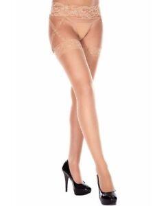 Sheer Thigh High Stockings With Garter Belt - Music Legs 7810