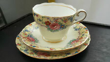VINTAGE AYNSLEY   TRIO  CUP, SAUCER AND PLATE  LEMON EDGE WITH FLORAL PATTERN