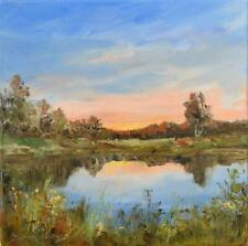 "Zmierzch"" Original Oil Painting 30x30cm signed Garncarek Al,,"