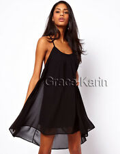 Mini Kleid Chiffon Damen Kurz Stretch Strandkleider Boho Rückenfrei Sommerkleid