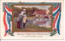 Antique POSTCARD Patriotic George Washington & Mother on Farm Feb 22 Greetings