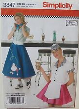 Simplicity 3847 Misses Tops Poodle & Waitress Skirt Hat Sewing Pattern Sz 14-22