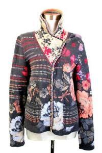 IVKO Floral Pattern Cardigan Sweater SHAWL BUTTON COLLAR Wool Pockets M 38
