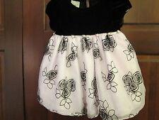 Black Velvet Pink Rose Dressy Dress, Vintage Look, Size 6-9 Months