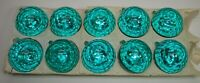 Vintage Xmas Lot of 10 GREEN Faceted DISCO BALL Plastic Ornaments w/ Box ITALY