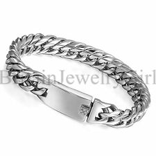 "8.7"" Stainless Steel Cuban Curb Chain Bangle Bracelet for Men Punk Biker*12MM"