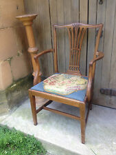 Antique Mahogany Carved Chippendale Library Hall Dining Desk Carver Chair