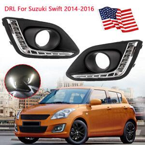 2×LED Daytime Running Lights For Suzuki Swift 2014 2015 2016 DRL Bumper Fog Lamp