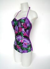 Vintage Lycra Swimsuit - 1980s - Purple Floral - Halter Neck - UK 10