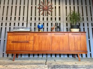 Long Meredew Teak Sideboard Vintage Retro Mid Century Cabinet