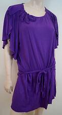 VIVIENNE TAM Purple Belted Short Pleated Flare Sleeve Casual Jersey Dress Sz:M