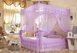 Sweet Dream 4 Corners Post Bed Canopy Mosquito Net Twin Queen Cal King Size Chic