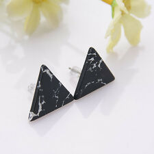 1 Pair Women Girl Marble Simple Triangle Ear Stud Vintage Earrings Jewelry Gift