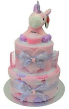 Magical 'Cupcakes & Unicorns' 2 Tier Nappy Cake/New Baby Shower Baby Girl Gift