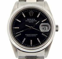 Mens Rolex Date Stainless Steel Watch Oyster Bracelet Black Stick Dial 15200