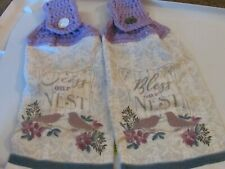 New listing Two Handmade Crocheted Hanging Kitchen Towels Bless Our Nest Birds
