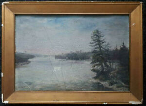 19th CENTURY OIL PAINTING CANADIAN SCHOOL SIGNED INITALS LAKE FOREST LANDSCAPE