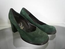 Damen Pumps Velour grün  80er TRUE VINTAGE 80s green Blockabsatz UK 5,5