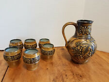 7 pc set Vintage GERTZ Germany Pottery Wine Pitcher & 6 Glasses #3872 FLAWS