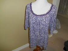 Faith & Me tunic top purple ikat print cotton blend ribbed 3/4 slv scoop neck L