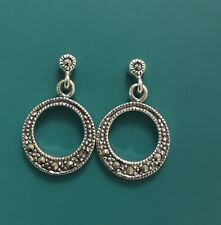 Beautiful Vintage Inspired Sterling Silver Marcasite Dangly Circle Earrings