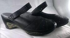 J-41 SONOMA Adventure On Black Mary Jane Wedge Leather Women's Sandals Sz 11 EUC