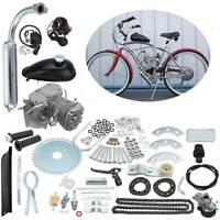 "2 Stroke 50cc 26"" 28"" Bicycle Motorized Engine Bike Motor w/ Exhaust Pipe Silver"