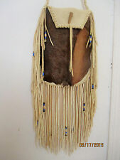 Long Fringe Commercial Brain Tan Elk Leather Bag Purse ELK HAIR (FUR) on Front