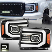 For 2007-2013 GMC Sierra Black DRL LED Tube/LED Signal Dual Projector Headlights