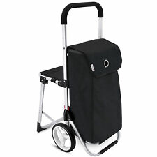 Sitz Einkaufstrolley SEDD in schwarz Einkaufshilfe Trolley Trolli mit Klappsitz