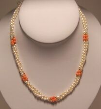 New hand strung 3 strands of 3 1/2 mm fresh water pearl & coral bead necklace.