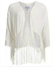 Super Dry Lacy Fringed Kimono Off White Top Size M