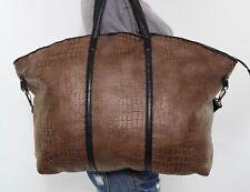 KELSI DAGGER X-Large Brown Black Shoulder Hobo Tote Carryall Satchel Purse Bag