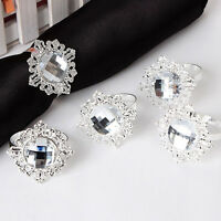 12x Silver Diamond Napkin Ring Serviette Holder Wedding Banquet Dinner Decor ,^