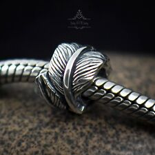 Genuine SOLID Sterling Silver charm bead feather love angel fits bracelets AUM