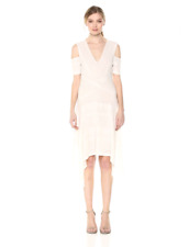 $228 New Women's BCBG Odette Asymmetrical Cold-Shoulder Dress SZ S Gardenia