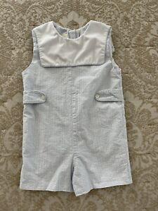 Little English Boys Blue Gingham One Piece Jon Jon Romper Short All Size 24 Mos
