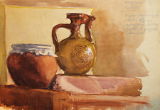 ORIGINAL VINTAGE WATERCOLOR PAINTING STILL LIFE WITH PITCHER AND POT