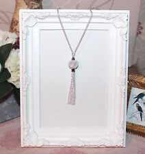 Vintage/flapper/1920's long silver necklace with mesh bead & chain tassel