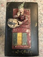 """Odd Antique Cast Figure Mounted On Board-Man Emptying Chamber Pot-""""Look Out"""""""