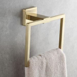 Stainless Steel Towel Rings Square Towel Bath Towel Rack Towel Bar Brushed Gold