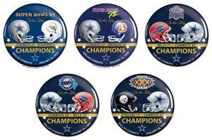 Dallas Cowboys Super Bowl Champions Buttons Lot of 5 Commemorative Set