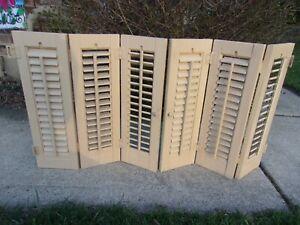 "PAIR Vintage Wood Interior LOUVER PLANTATION Window Shutters 19.25"" W x 20"" H"