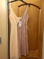 Next Pink Crushed Velvet And Sequin Party/Prom/Hen/Bridesmade Dress 14 Cost £65