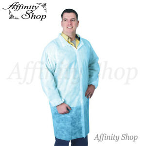 25x Lab Coats Blue Disposable PP Polypropylene Coverall Jackets Non-Woven Coat